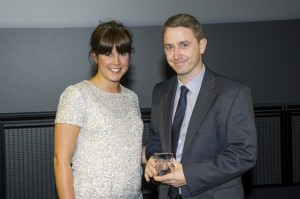 Lisa Levis presenting the Silver Award to Eamonn Prescott of Adam Carpets