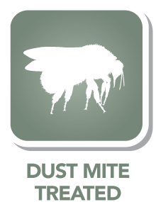 Yarn is treated to prevent dust mites