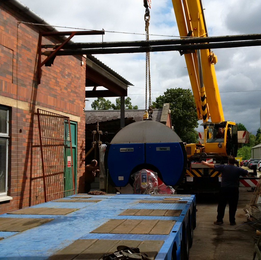 One of Two New Dye House Boilers Being Delivered