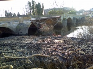 Tadcaster bridge cut in half by the floods