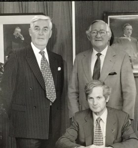 The men behind Fine Worcester Twist and it's success. Designer, Hilary Terry was also instrumental with her amazing colourbank.  Back from left to right: Mr Tony Hardwick (Sales Director 1995-2010),  Mr Jim Bennett (Sales Director & Consultant Director 1983-2001) Front: Mr David Adam (Managing Director until 2007)
